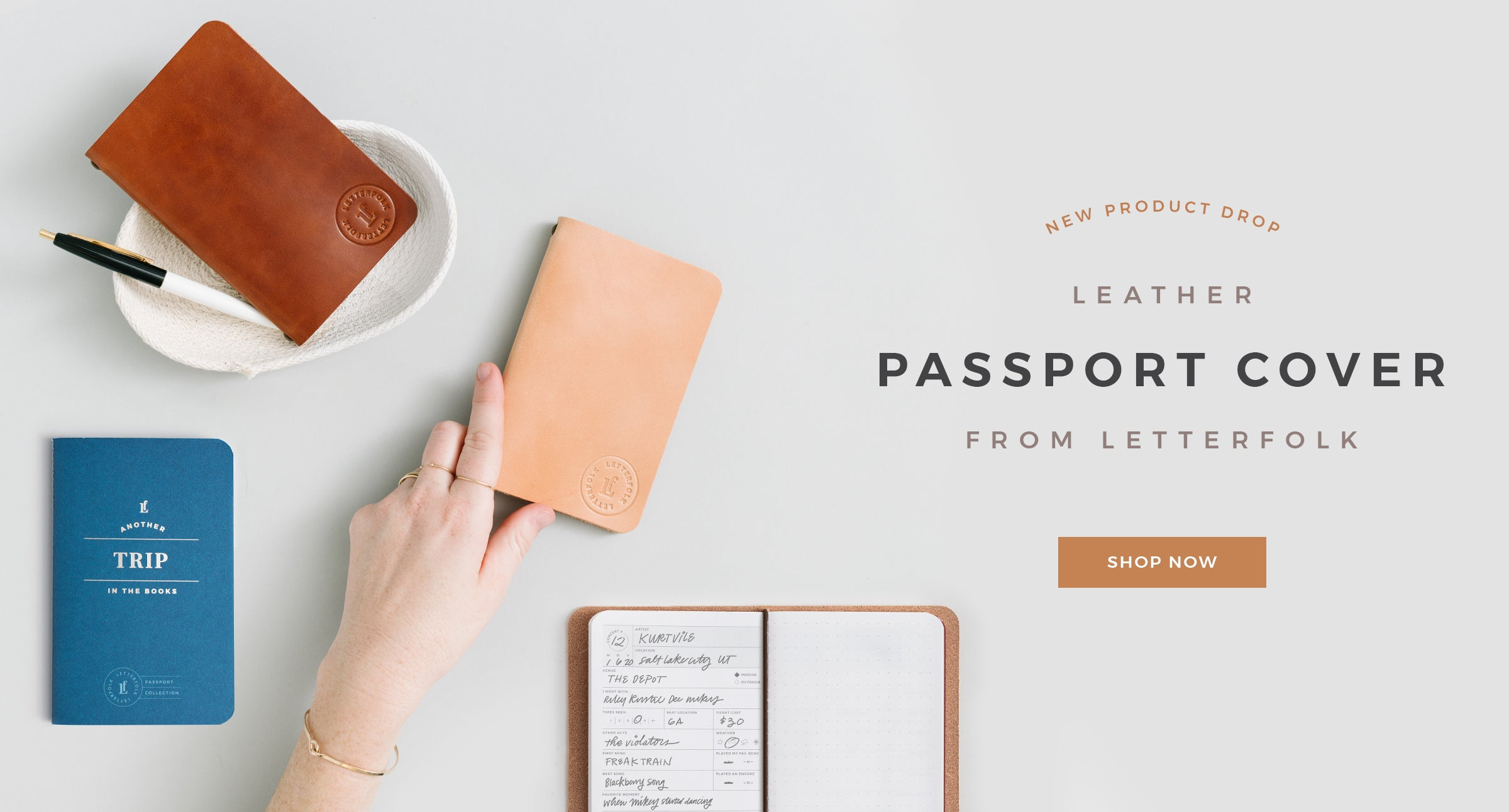 Leather Passport Cover by Letterfolk