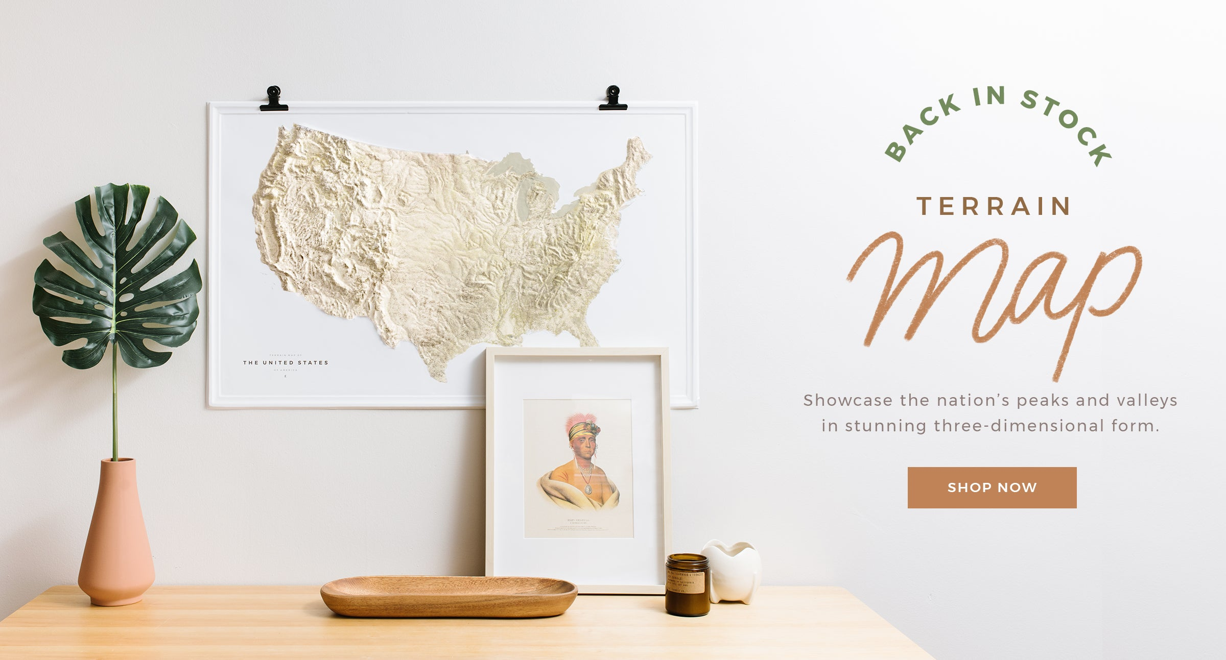 Terrain Map of the United States by Letterfolk