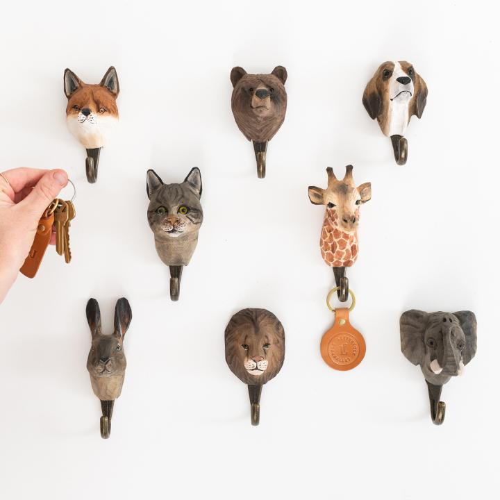 Wood-Carved Animal Wall Hooks - Letterfolk