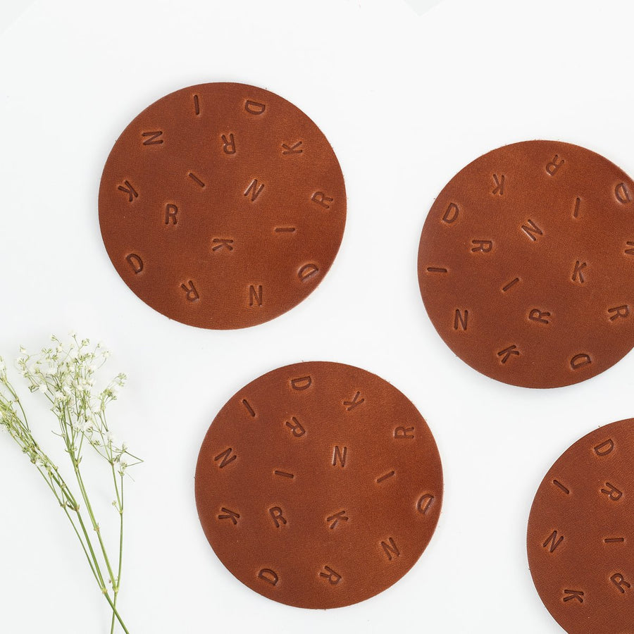 Leather Coasters (4 Pack) - Letterfolk