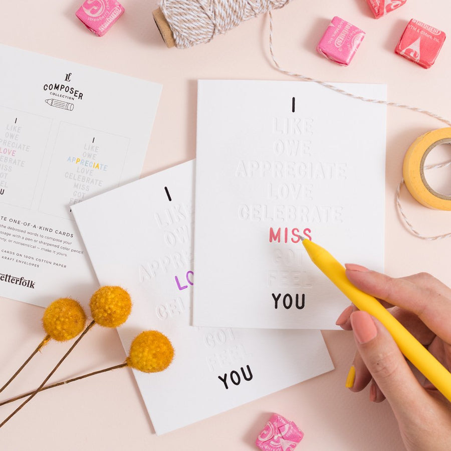 I ____ You Color-In Greeting Cards 3-Pack - Letterfolk