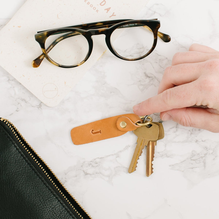 Monogram Leather Keychain - Letterfolk