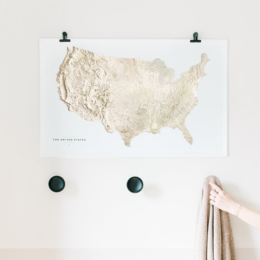 Terrain Map of the United States - Letterfolk