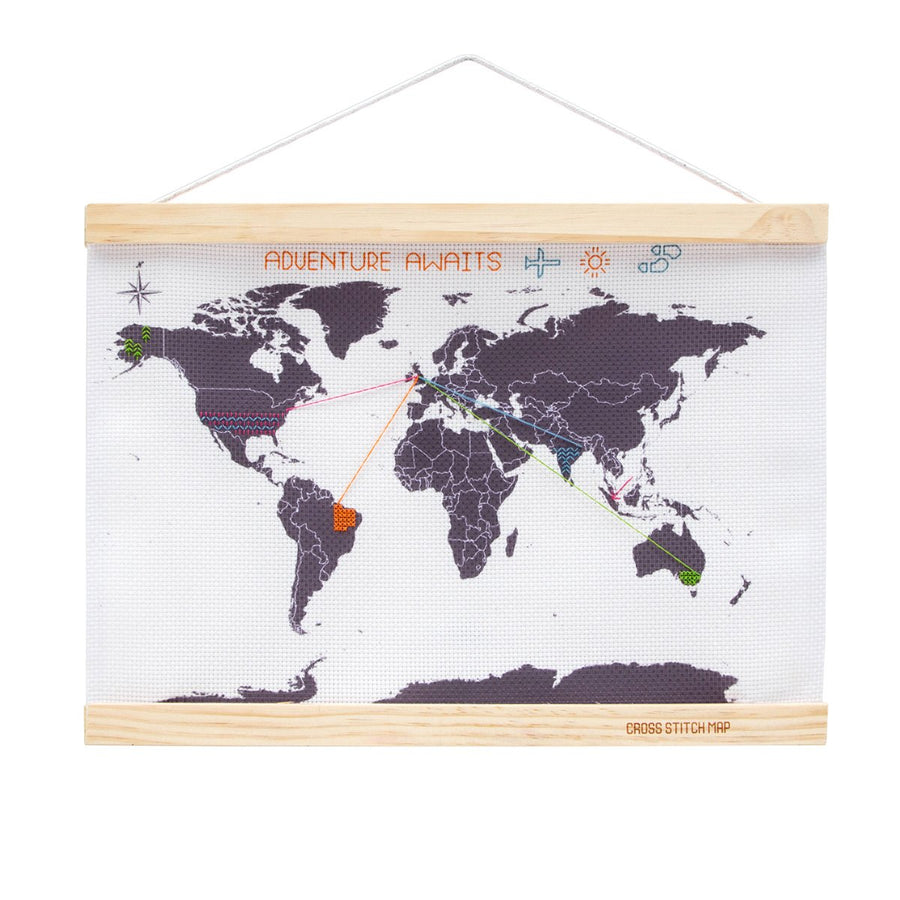 Cross Stitch Travel Map - Letterfolk