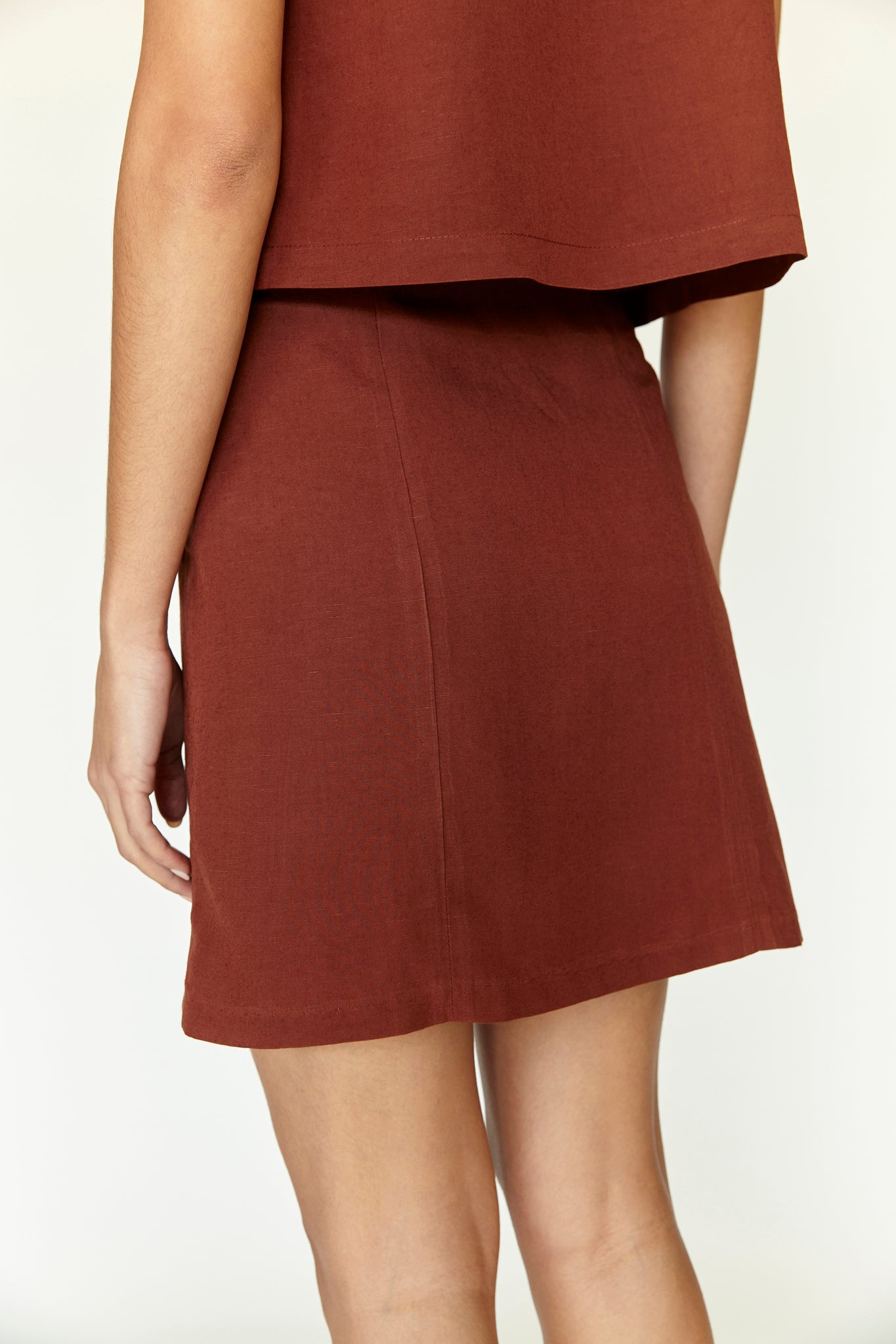 Scalloped Mini Skirt - Rust