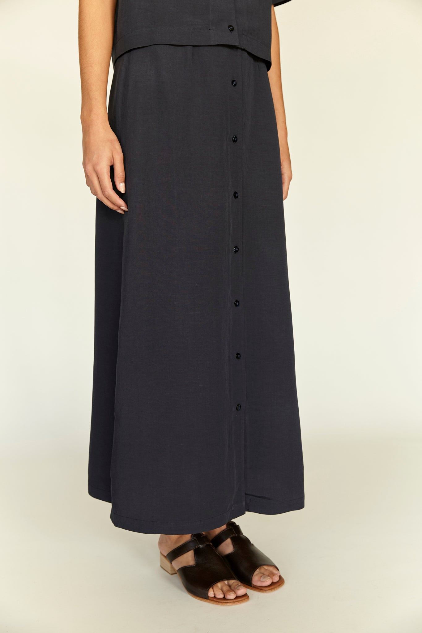 Long Button Up Skirt - Navy