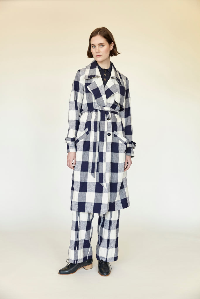 Giant Gingham Trench - Ink - pre order