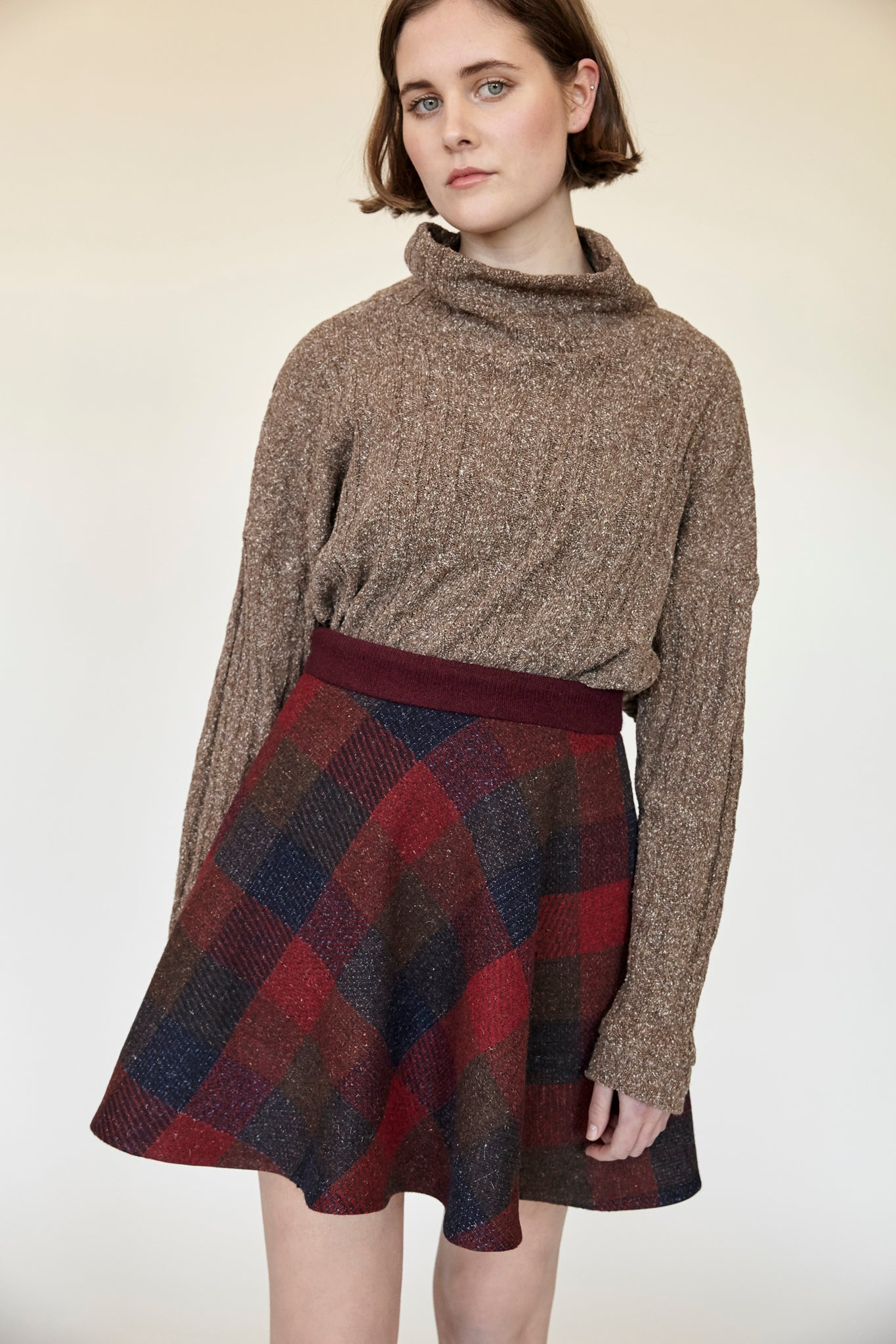 Checkered Skirt - Russet