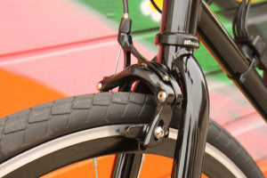 Details of the electric bicycle by Ride Scoozy with Tektro brakes and chromoly steel frame.