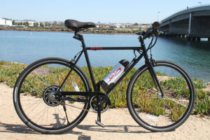 Scoozy 350 electric bike by the water in San Diego California.