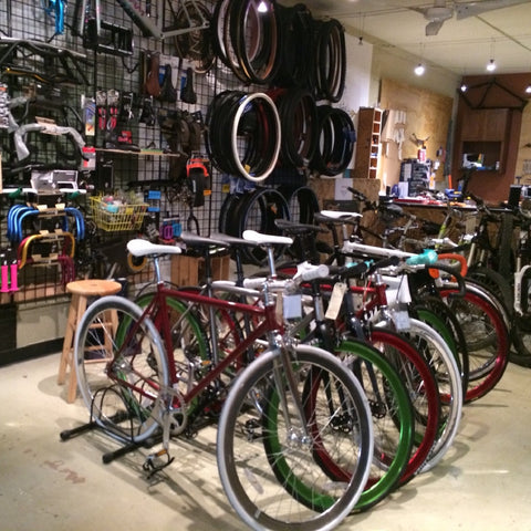 Inside of coco bikes denver bicycle shop.