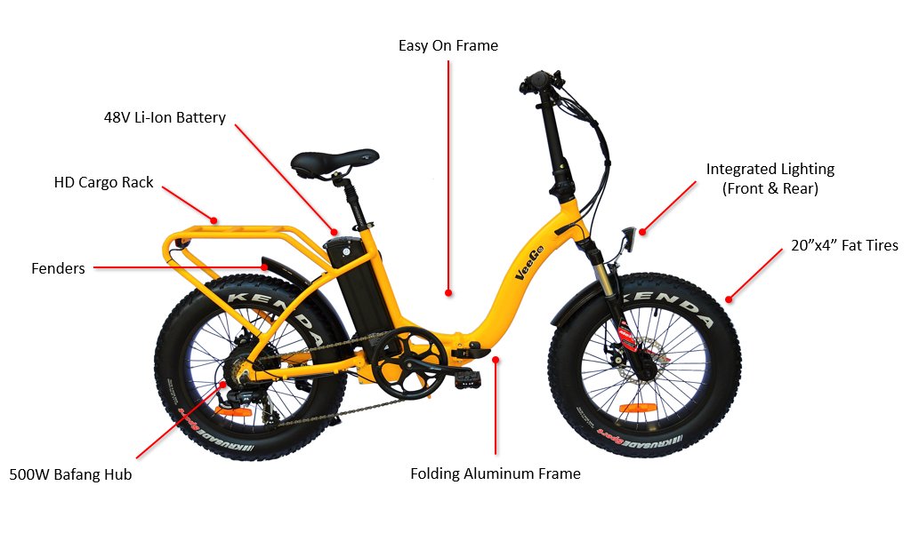 VeeGo Folding Fat Tire Features including Fenders Suspension Fork and Cargo Rack