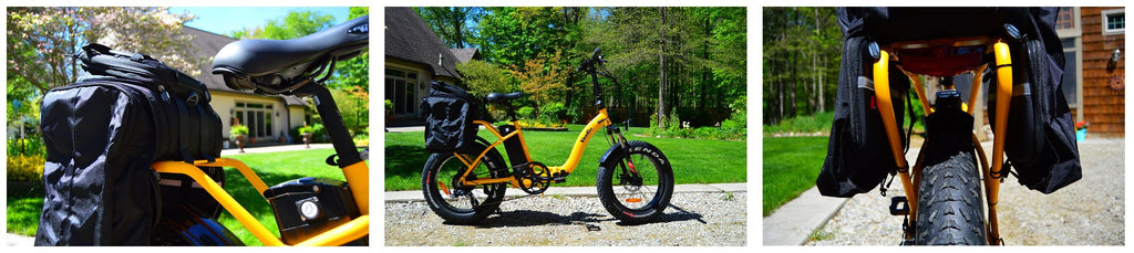 Zydek Trunk Bag with Expandable Panniers for Wide Fat Tire Rack on Electric Bike