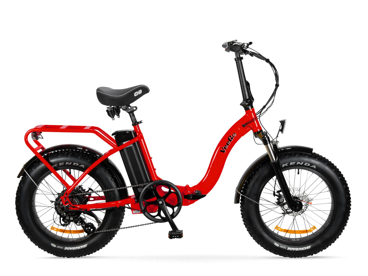 Red VeeGo Electric Bike is Colorful and Safe to Ride