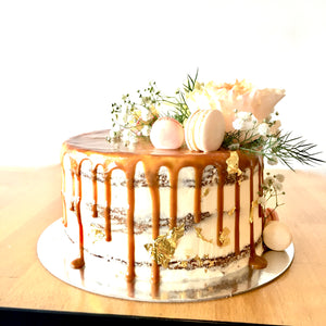 Floral drip cake w gold - from $120