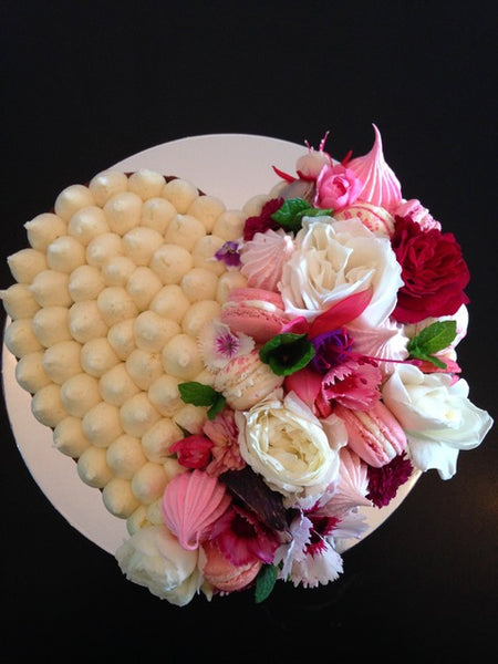 Heart Cake with Flowers and Macarons