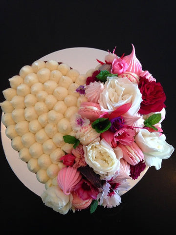 Heart Cake with Flowers and Macs