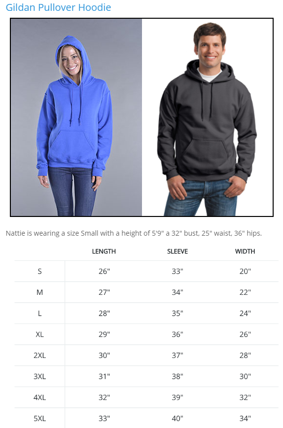 Camperville Hoodie Sizing Chart