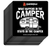 "Funny  ""What Happens In The Camper Stays In The Camper"" - Camping Sticker"