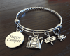 "Braided Stainless Steel ""Happy Camper"" Backpack Bracelet"