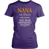 "Funny ""Nana The Woman, The Myth, The Beer Drinking Legend"" Purple Woman's Shirt"
