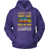 """Sorry For What I Said While We Were Trying To Park The Camper"" Funny Purple Camping Hoodie"
