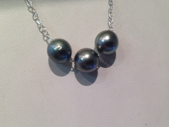3-Tahitian Pearl Necklace Sterling