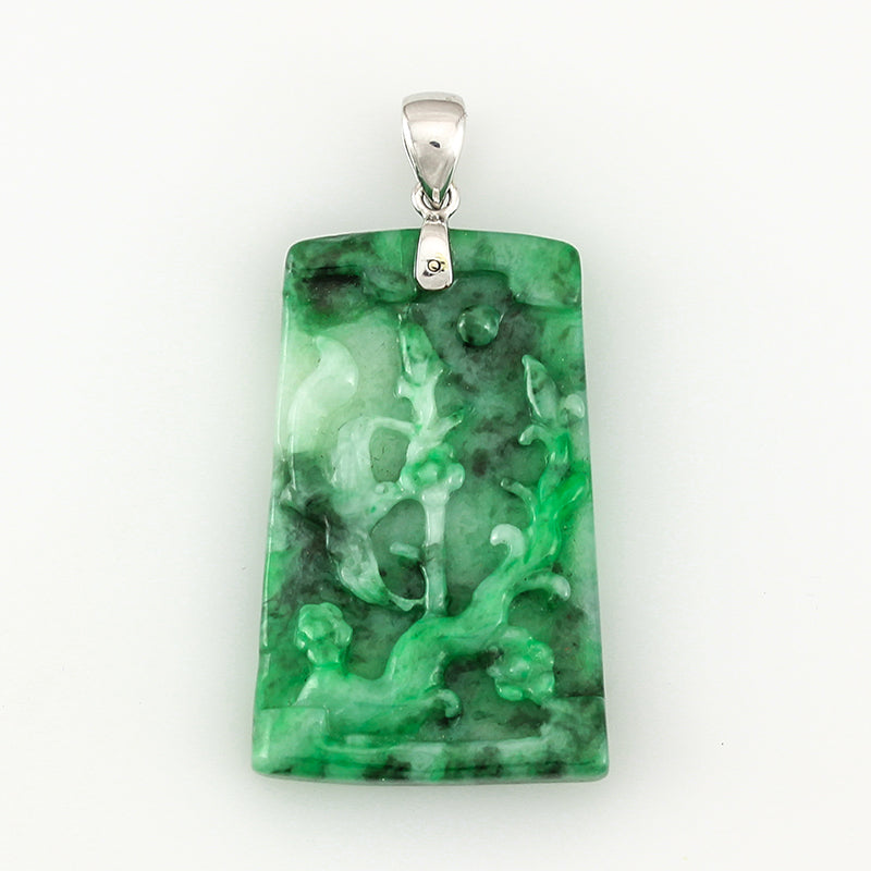 Carved Jade Pendant  White Gold Top