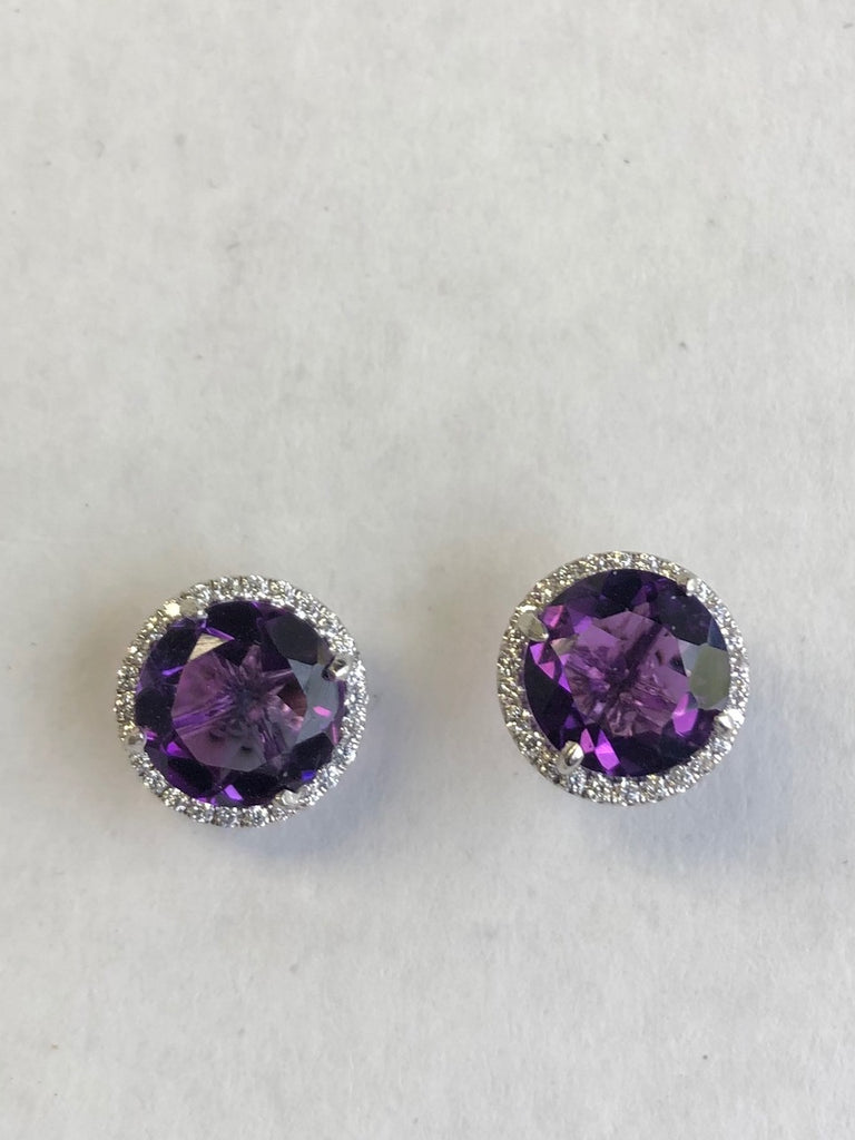Amethyst & Diamond Earrings