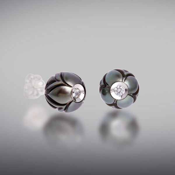 Carved Black Pearl Earrings With Diamonds