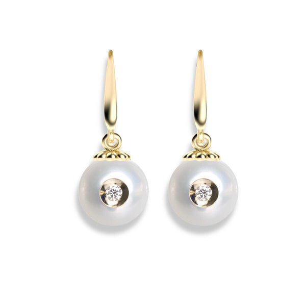 Diamond in a Pearl Dangle Earrings