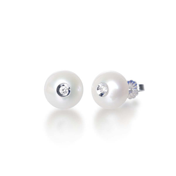 Diamond in a Pearl Earrings