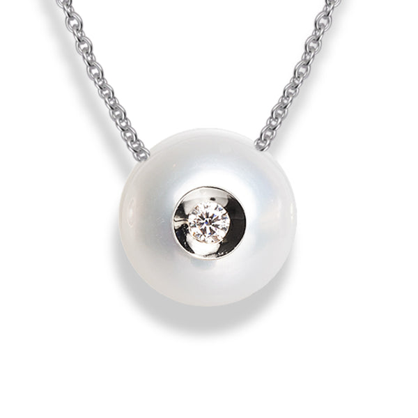Diamond in a Pearl Pendant