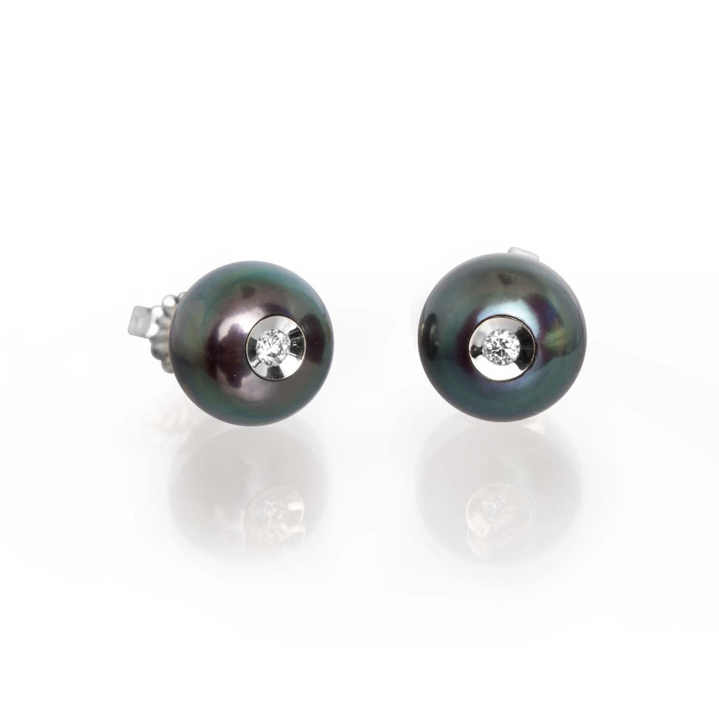 Diamond in Black Pearl Earrings