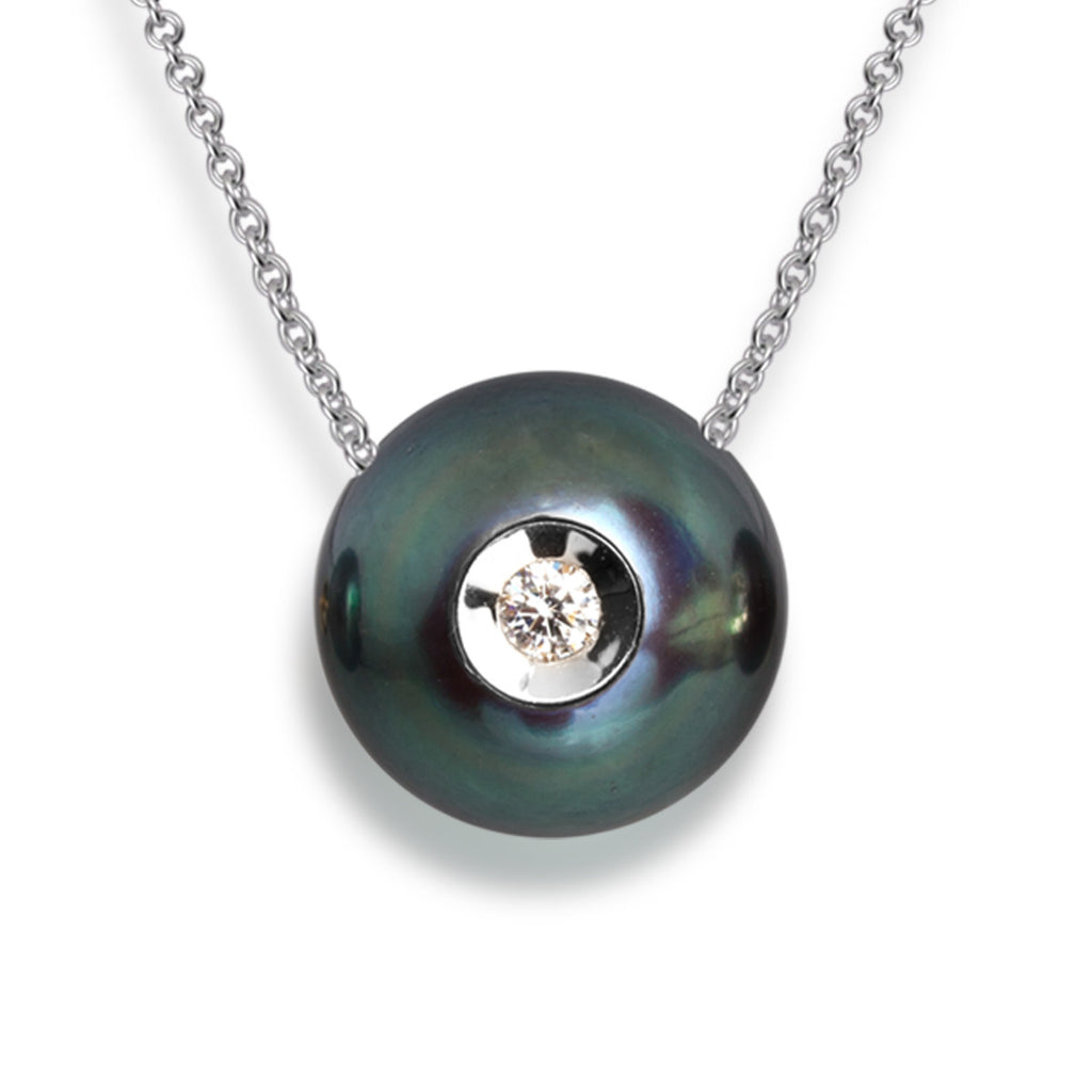 Diamond in Black Pearl Pendant