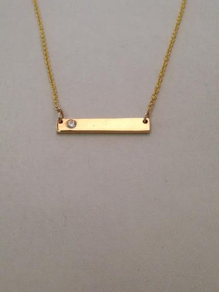 Diamond on Yellow Gold Bar Necklace
