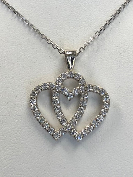 Double Heart Diamond Pendant White Gold