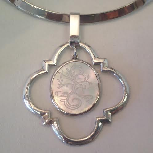 Engraved Mother-of-Pearl in Silver Necklace