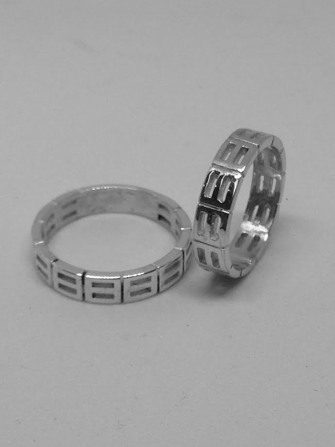 'Equality' Wedding Band Gents White Gold