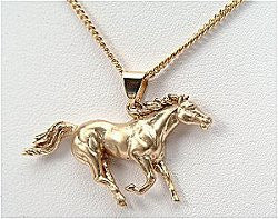 Galloping Horse Pendant Gold