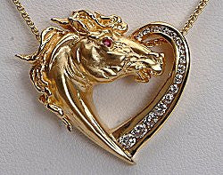 Horse Heart Pendant With Diamonds