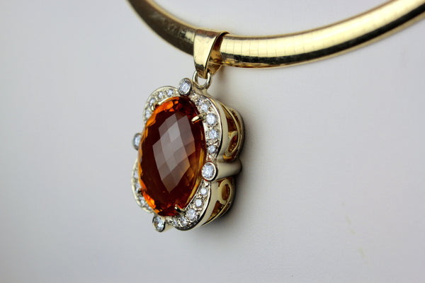 Citrine Pendant with Diamonds
