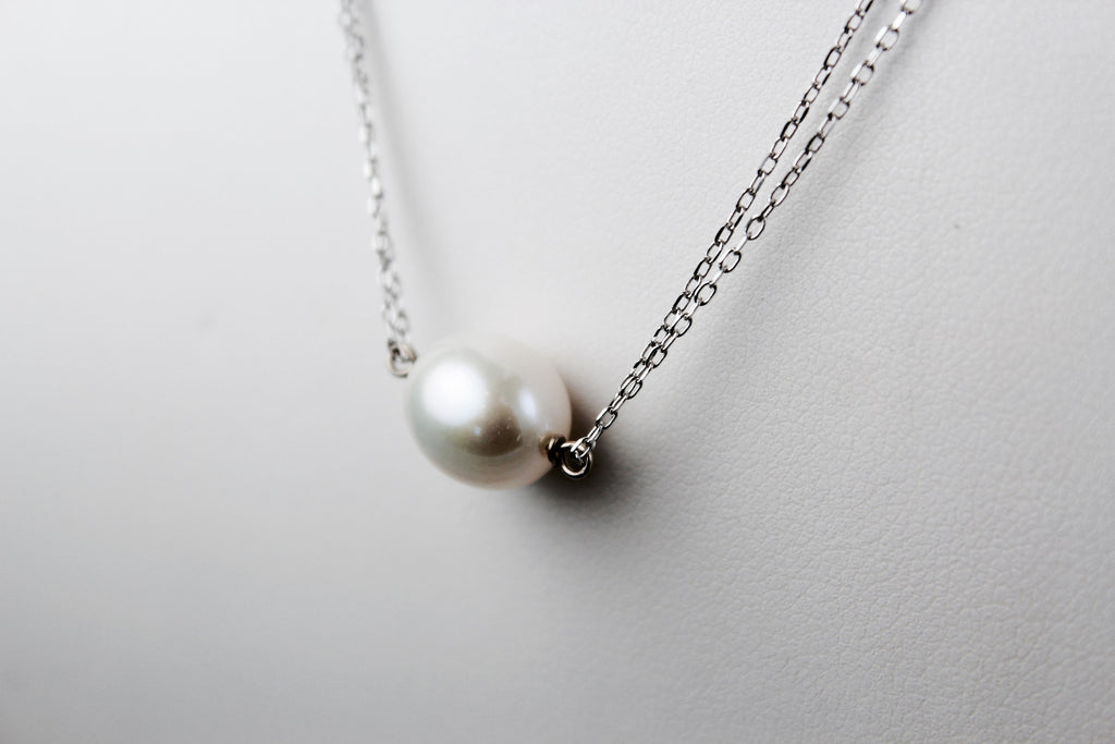 Single Pearl on Two Chain Necklace