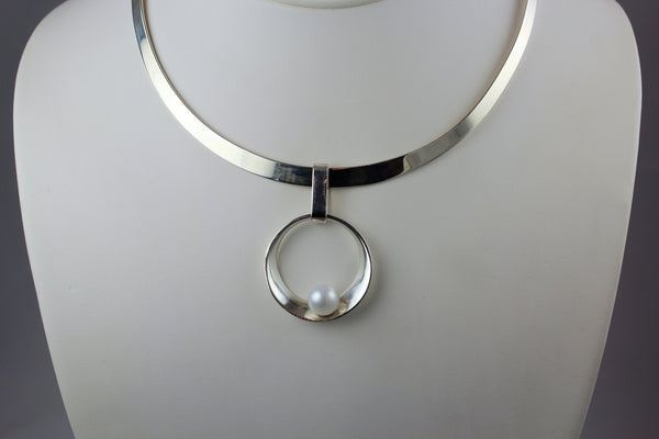 Round Silver Floating Pearl Pendant
