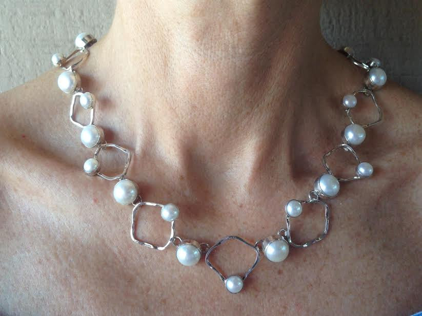 Open Design Pearl & Silver Necklace