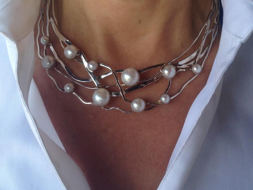 Collar Sterling Silver With Pearls
