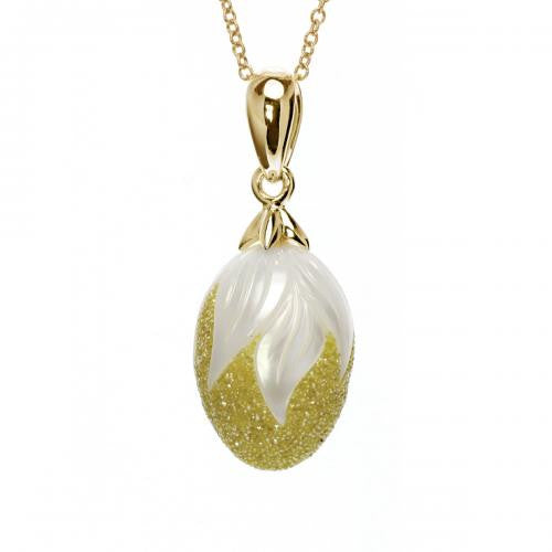 Drop Pearl & Yellow Diamond Pendant