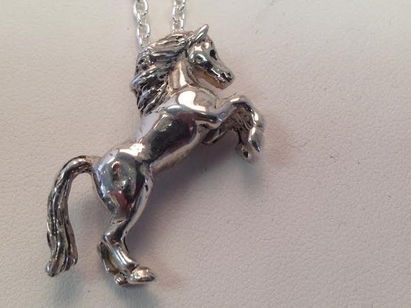 Rearing Horse Pendant Silver