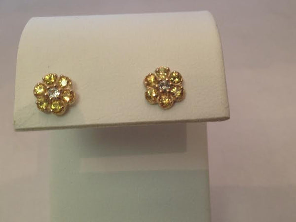 Small Yellow Sapphire Cluster Earrings