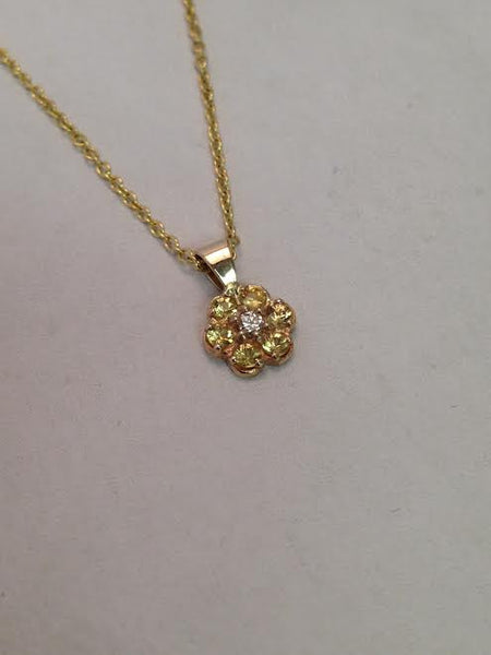 Small Yellow Sapphire Cluster Pendant